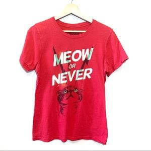 Goodie Two Sleeves Meow or Never Cat Laser Tee